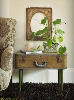 Put legs under a vintage suitcase to repurpose as a side table - with bonus storage inside. 32 Brilliant Repurposing Ideas for Your Home Improvement