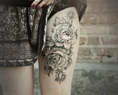 Thigh Flowers Tattoo for Women
