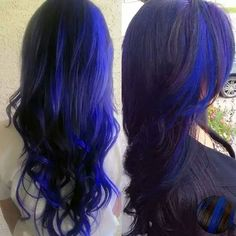 Black hair with blue tips would be beautiful!