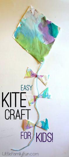 Little Family Fun: Easy Kite Craft for Kids! March Crafts for kids Preschool Crafts, Fun Crafts, Arts And Crafts, Kites For Kids, Art For Kids, 4 Kids, Children, Kids Diy, Toddler Art