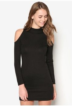 5f00b2ff61ad Basic Cold Shoulder Bodycon Dress from ZALORA in black 1 Latest Outfits