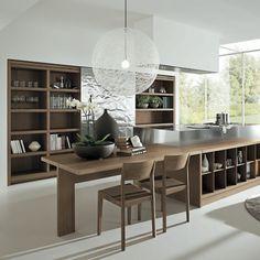 Cocina abierta con comedor integrado Acabado: Nogal y Acero inoxidable. Corner Desk, Kitchen Decor, Bookcase, Shelves, Nice, Table, Furniture, Images, Decorating Ideas