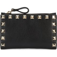 Valentino Garavani Rockstud wallet ($445) ❤ liked on Polyvore featuring bags, wallets, black, leather coin purse, valentino wallet, leather wallets, zipper change purse and leather change purse