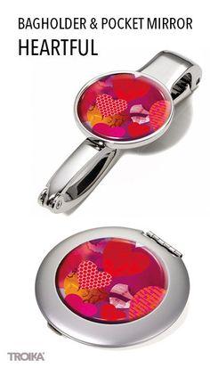 TROIKA HEARTFUL. Bagholder and pocket mirror with heart design*** Taschenhalter und Taschenspiegel im Herz Design. #women #woman #mothersday #gift #love #Frauen #Frau #Muttertag #Geschenk #Liebe