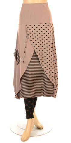 G'ioze Funky Rosewood Dot & Stripe Skirt