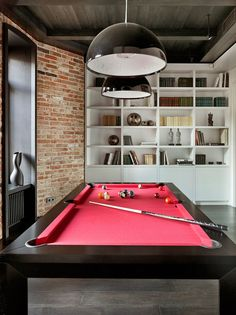 Modern apartment in Moscow. I like the idea of having a pool table in my apartment. Interior Architecture, Interior Design, Apartment Renovation, Billiard Room, Simple House, Game Room, Living Spaces, New Homes, House Design