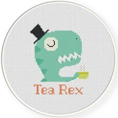 Tea Rex Cross Stitch Illustration