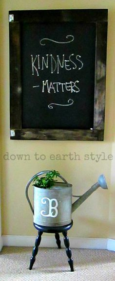 Chalkboard made from a shipping crate lid - Kindness Matters - Down to Earth Style