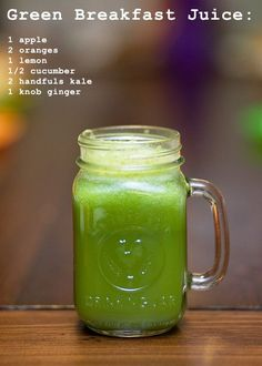 Breakfast Juice- Apple, Orange, Lemon, Cucumber, Kale, & Ginger