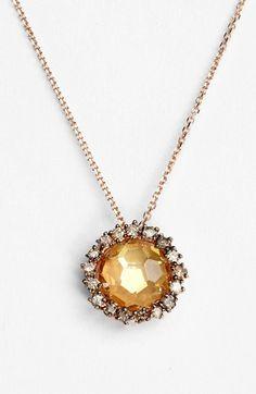 KALAN by Suzanne Kalan 14K Rose Gold 'Sunburst' Round Champagne Topaz - Champagne Diamond Necklace available at #Nordstrom