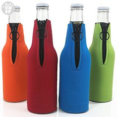Beer Bottle Coolers with Zipper Premium Neoprene Insulators, Set of 4 Coolie Sleeves Assorted Colors, Blue, Red, Green, Orange (*Amazon Partner-Link)