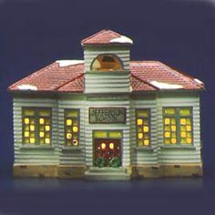 """I chose this because my Granny Randolph firtst taught in old country school, 'Jefferson School', and we are ancestors of T. Jefferson. Department 56: Products - """"Jefferson School"""" - View Lighted Buildings"""