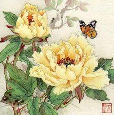 Jinghua Gao Dalia - Brush Magic- Over 3 decades of Chinese watercolor brush painting experience Peony Painting, Silk Painting, Watercolor Flowers, Japanese Painting, Chinese Painting, Japanese Art, Chinese Flowers, Japanese Flowers, Botanical Art