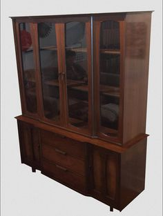 midcentury modern china cabinet by stanley by touchgoods on etsy