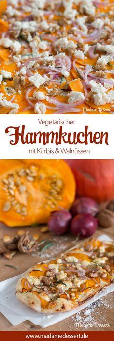 Rezept für vegetarischer Flammkuchen mit Kürbis & Walnüssen | Perfekt für lauschige Herbst Abende mit Freunden