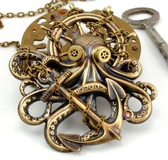 Steam Punk Jewelry Octopus Necklace Kraken Cthulhu Steampunk Goggles Steam Punk Pirate Necklace Steampunk Jewelry By Victorian Curiosities. on Etsy, Design Steampunk, Mode Steampunk, Steampunk Pirate, Style Steampunk, Steampunk Goggles, Steampunk Cosplay, Victorian Steampunk, Steampunk Necklace, Steampunk Clothing