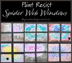 These paint resist spider web windows are fun and easy to make and would be great for a collaborative project or for a classroom. Web Paint, Black Construction Paper, Poinsettia Flower, Paper Glue, Using Acrylic Paint, Small Canvas, Paint Drying, Black Paper, Program Design