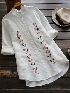 Floral Embroidered Button Up Linen Shirt - WHITE ONE SIZE