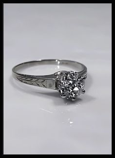 Antique Vintage Art Deco 14K White Gold Old European Cut Diamond Engagement Wedding Ring by AntiqueJewelryNyc on Etsy