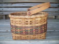 HAND WOVEN BASKET Small Market basket with swing handle by ccabin1, $28.00