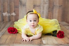 Beauty and the Beast inspired cake smash session first birthday photo shoot | Baby turns one | Disney Princess Child Photo | Belle | Addison Turns One! | Tiffany Ellis Photography | Camden South Carolina Wedding Photographer