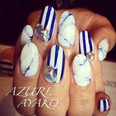 ヒッチコックコックブルーの大理石♫の画像 | AYAKO♡Nail Salon AZURL(アズール)〜岩手県奥州市…