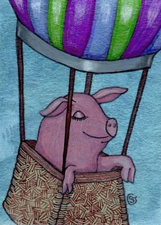 Pig TW SEP Fantasy Hot Air Balloon Watercolor Original ACEO Art by Sherry Goeben  #Realism