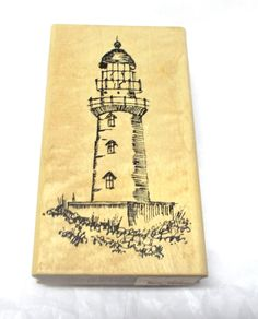 Lighthouse rubber stamp By Stampourri Wood mounted Stamping Card Making Scrapbooking Scenic stamps Dated 1998 by NoodlesNotions on Etsy