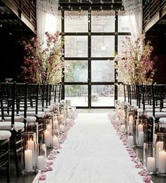 Winter Wedding Idea with Candlelit Aisle <3 In love <3