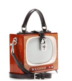 DOLCE & GABBANA Dolce Box TV Snakeskin Trimmed Wooden Shoulder Bag