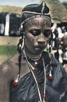 Africa | Mbororo woman (nomads).  Meiganga, Cameroon || Scanned postcard