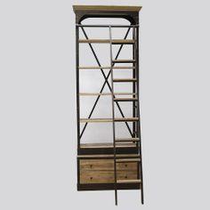 Bibliothèque avec échelle en bois recyclé et métal. http://www.made-in-meubles.com/bibliotheque-avec-echelle-en-bois-et-metal.html