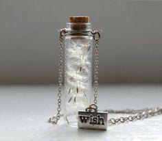 Wish bottle necklace [Ideas: glitter; charms; mini terrarium http://m.instructables.com/id/Terrarium-in-a-Bottle-Necklace-Fairy-Garden-Jewelr/?ALLSTEPS]