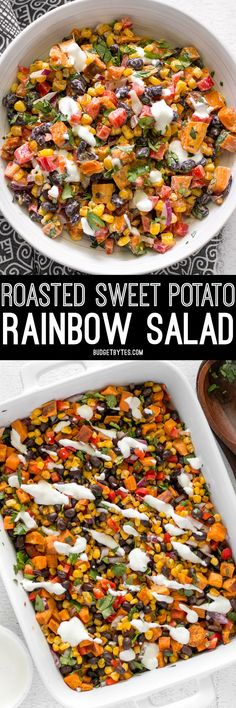 This Roasted Sweet Potato Rainbow Salad combines a medley of vibrant colors and flavors, brought together by a bright and creamy dressing. @budgetbytes