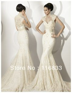 Free shipping 2013 Sexy  Sweetheart  With Cap Sleeve Backless  Applique Lace Long Train Wedding Dress Wedding gown W 001 $188.00