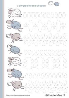schrijfpatroon schapen voor kleuters, kleuteridee.nl , sheep writing pattern for preschool , free printable. Schwungübung schreiben lernen writing practice tracing