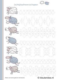 sheep writing pattern for preschool , free printable.