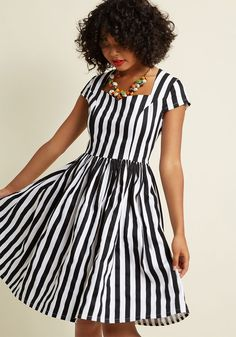 Banned Bold Me Over A-Line Midi Dress in Stripes