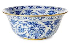 "C & S Acosta Inc. | 15"" Vine Bowl, Blue/White 