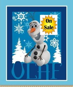 Olaf, Disney Frozen Fabric, Frozen Panel, SALE, Olaf Panel, Frozen Character Fabric, Olaf Panel, Disney Fabric, by Springs Creative, 53552 by AnnikasArts on Etsy
