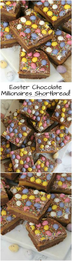Buttery Chocolate Shortbread Homemade Caramel Milk Chocolate and Micro Mini Eggs make the most delicious Easter Chocolate Millionaires Shortbread! Easter Snacks, Easter Treats, Easter Recipes, Easter Desserts, Easter Cake, Easter Food, Easter Party, Easter Eggs, Shortbread