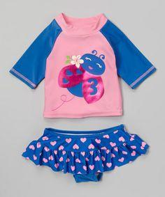 Look at this #zulilyfind! Blue Ladybug Rashguard Set - Infant & Toddler by Watch Me Grow #zulilyfinds