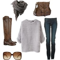 Scarf, sweater, jeans, purse, boots, all love!