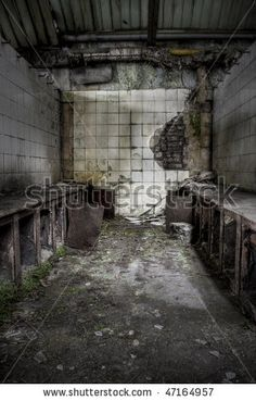 stock photo : The interior of an abandoned factory, grunge scene