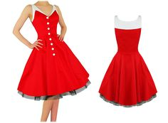 Hearts & Roses London Kitsch Red Vintage 50s Party Prom Swing Full Flare Dress Preview