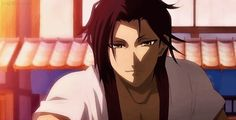 """This is from the anime """"Hakuōki."""" The boy in the gif is Sanosuke Harada."""