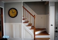 wainscoting fakery, love the colors and would love to protect my dinged and damaged stair walls this way.  Classy.