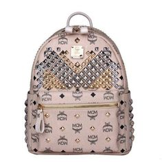MCM Small Stark Exclusive M Studded Backpack In Beige