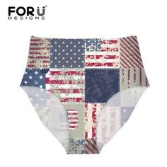 2016 Seamless Women Briefs High Waist Underwear UK USA Flag Print Calcinha Sexy Briefs Abdomen Soft Comfortable Panties 6 Colors