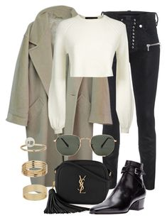 """""""Untitled #2463"""" by annielizjung ❤ liked on Polyvore featuring Unravel, MaxMara, Jaeger, Yves Saint Laurent, Ray-Ban and Miss Selfridge"""